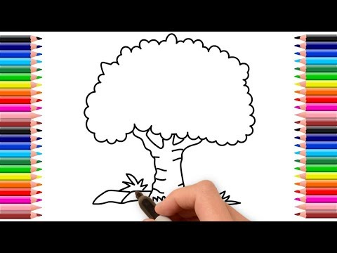 How to draw banyan tree step by step | Banyan tree drawing
