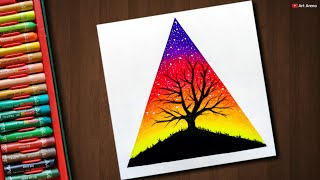 Easy Tree scenery drawing with Oil Pastels - step by step