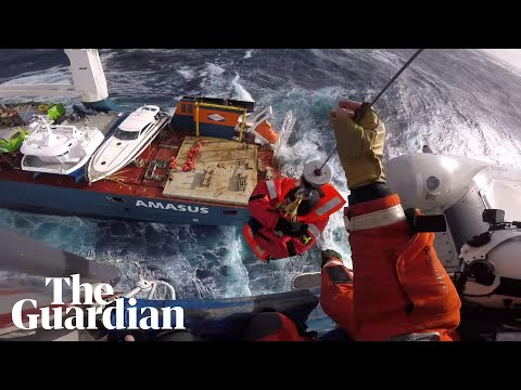 Cargo ship crew in dramatic rescue after vessel loses power in rough seas off Norway