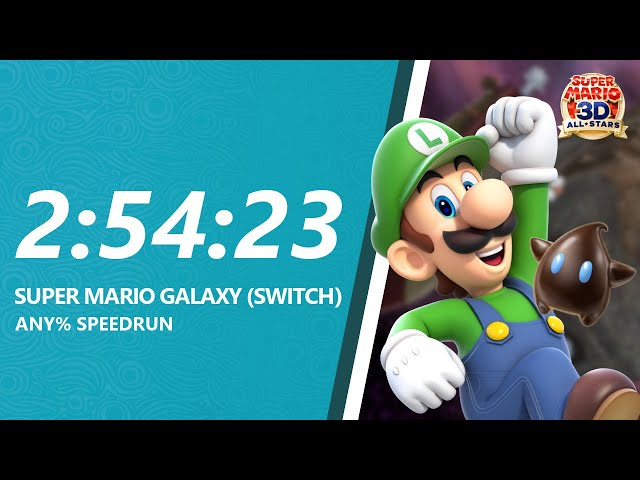 Super Mario Galaxy HD Any% (Luigi) Speedrun in 2:54:23