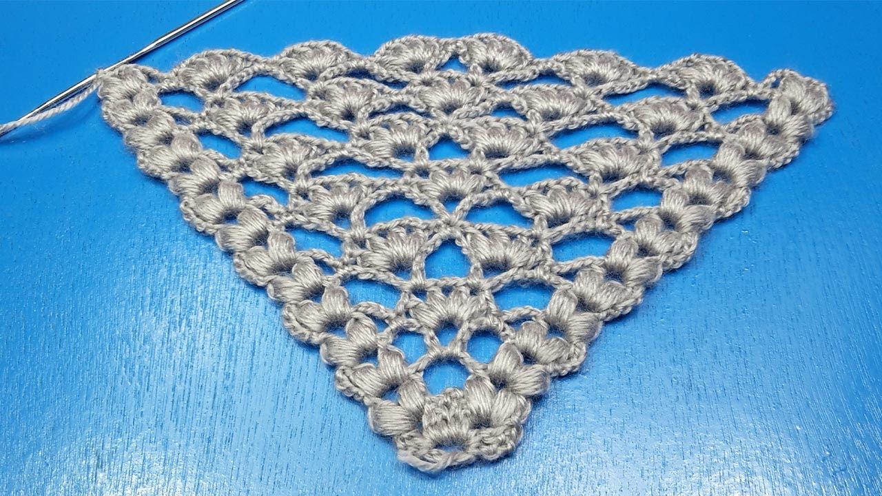 Crochet shawl 3D stitch free pattern شال كروشيه مثلث بغرزة بارزة بسيطة وسهلة للمبتدئين