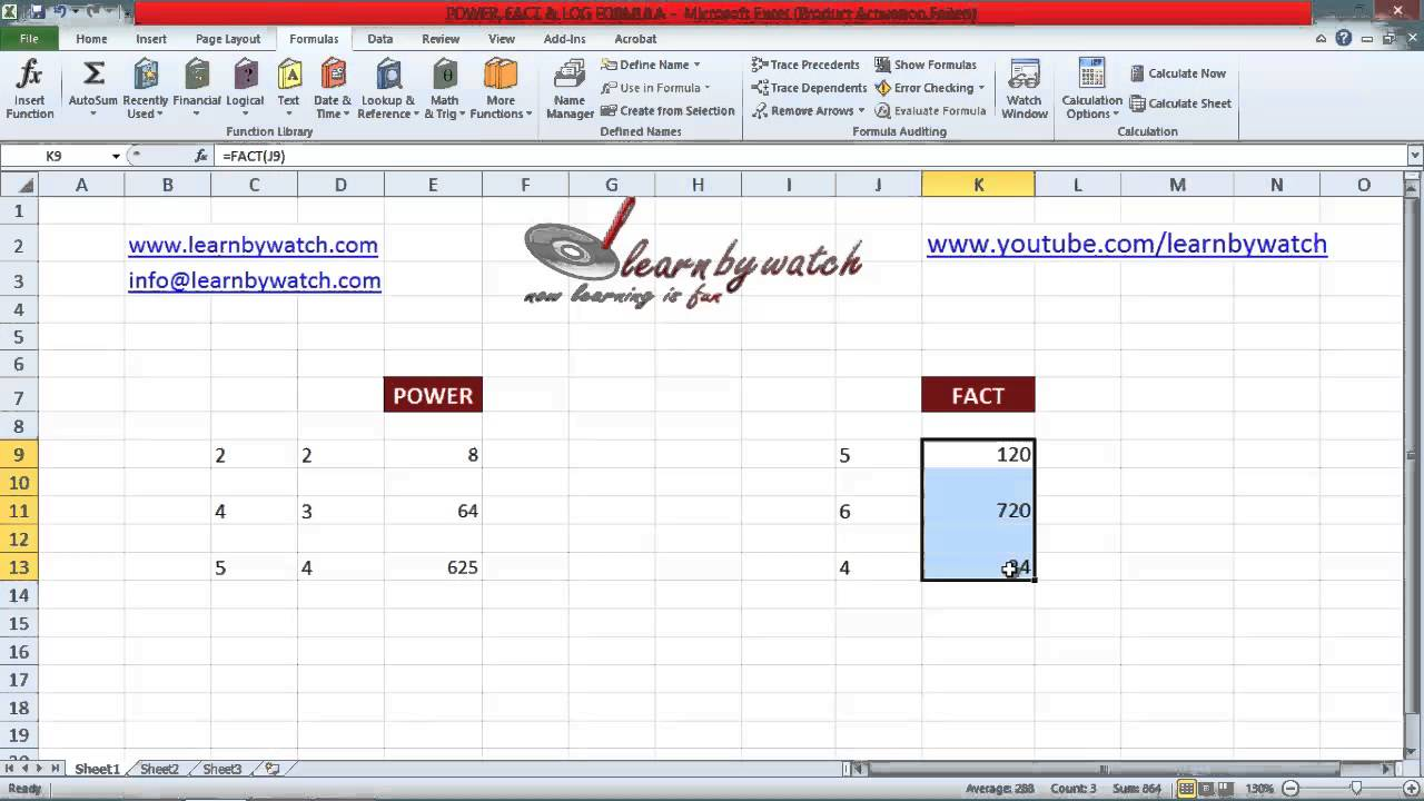 How to write a power formula in excel