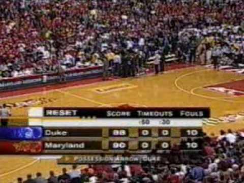 Duke @ Maryland Men's Basketball 2001 final minute