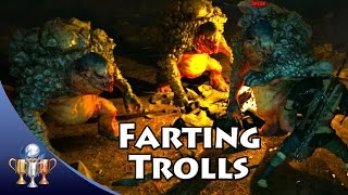 The Witcher 3 Wild Hunt - Farting Trolls Easter Egg w/ Angry Joe, Jesse Cox & Dodger