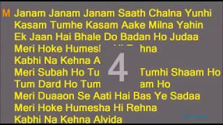 Janam Janam Janam Saath Chalna Yunhi With lyrics |  Arijit Sing | Dilwale | Sharukh khan