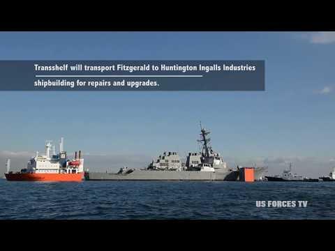 USS FITZGERALD DDG-62 Destroyer Loading into a Ship Transport (JAPAN)