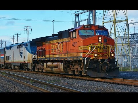 Freight Engines Pull Amtrak Trains