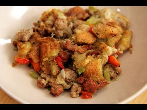 Homemade Sausage Stuffing Recipe - Laura Vitale - Laura in the Kitchen Episode 235