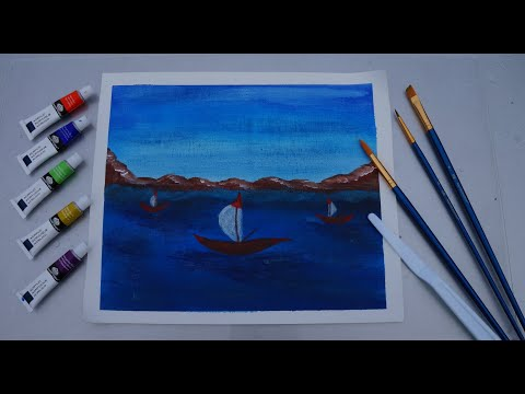 Boats / Blue Water / Simple Abstract Painting Demonstration /Daily Art