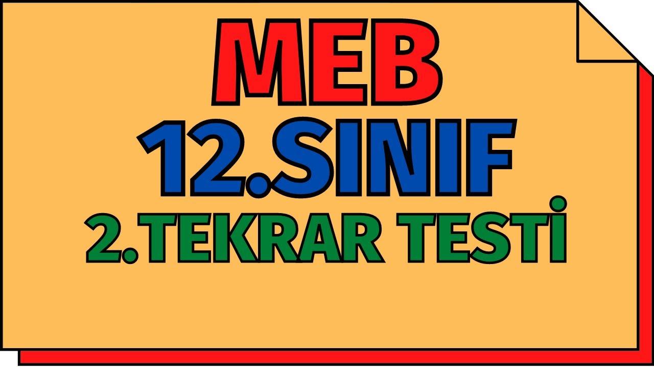 12.Sınıf Kimya 2.Tekrar Testi (Yeni Nesil Sorular) MEB   AYT 2020