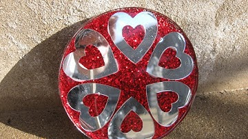 Glitter and Mirrored Hearts Coaster