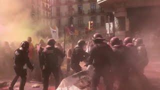 Seis detenidos y 24 heridos en las manifestaciones de Barcelona