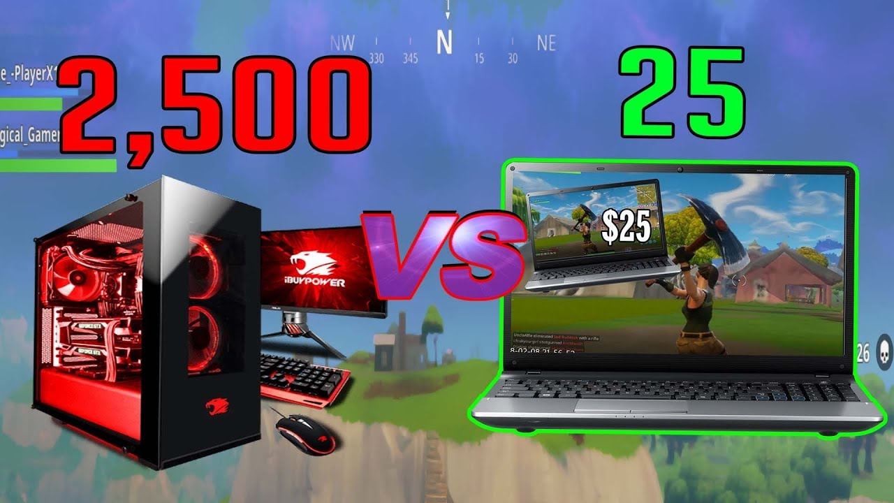 Fortnite On A 2500 Gaming Pc Vs 25 Laptop Youtube