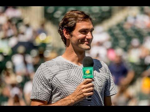 BNP Paribas Open 2017: Federer Speaks to Fans After Walkover