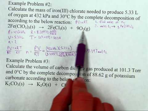 Stoichiometry with the Ideal Gas Law