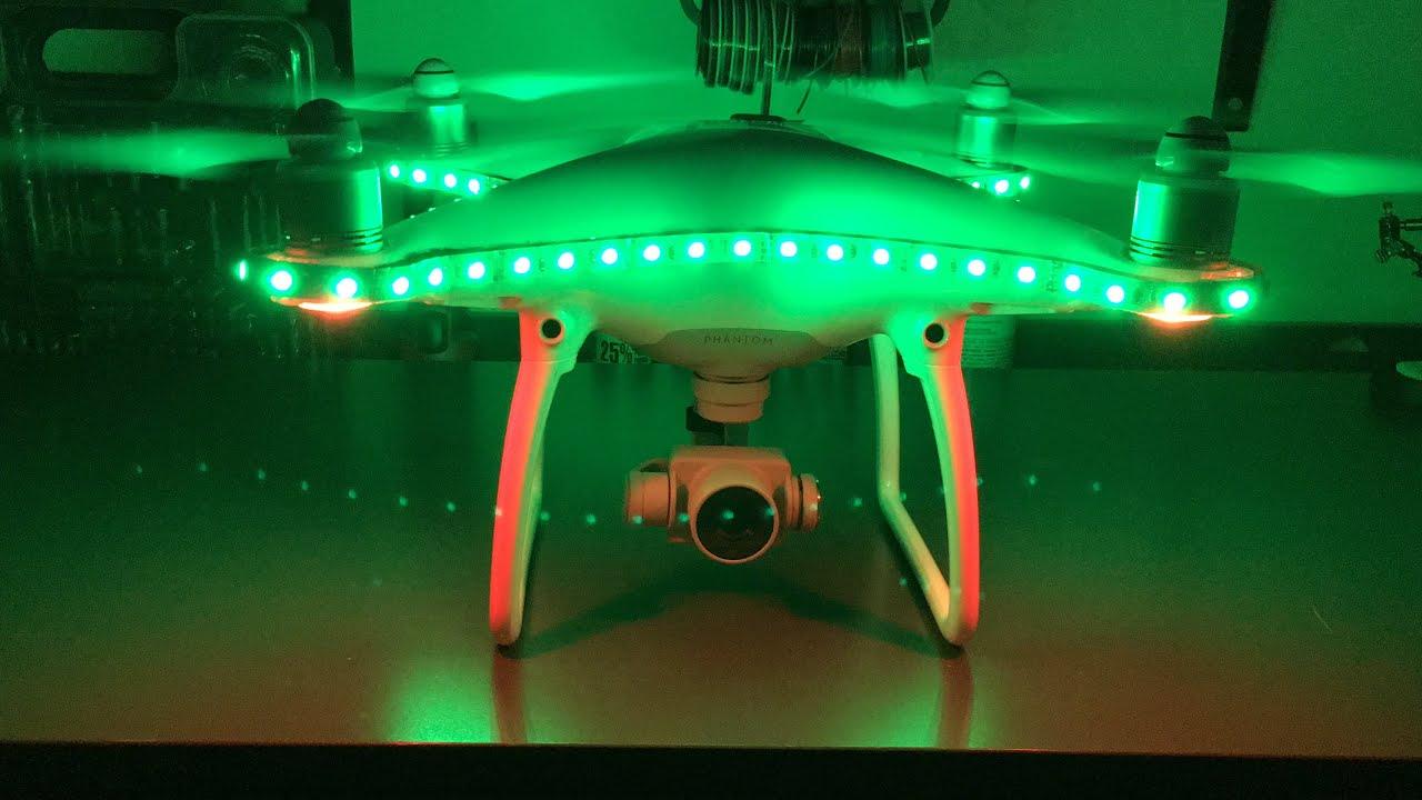 Dji phantom 4 drone led ufo light strip youtube aloadofball Image collections