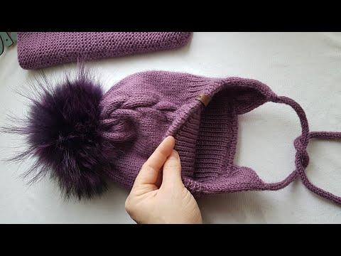 Зимняя шапка для девочки с меховым помпоном спицами