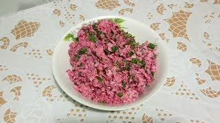 """Салат """"Розовый фламинго"""" в домашних условиях со свеклой, крабовыми палочками и сыром"""