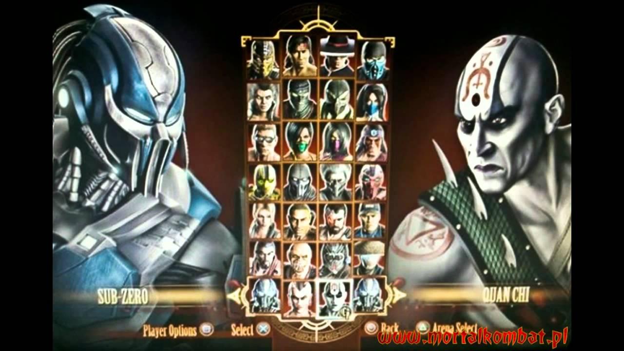 Mortal Kombat 9 (2011) All Character Select Screen