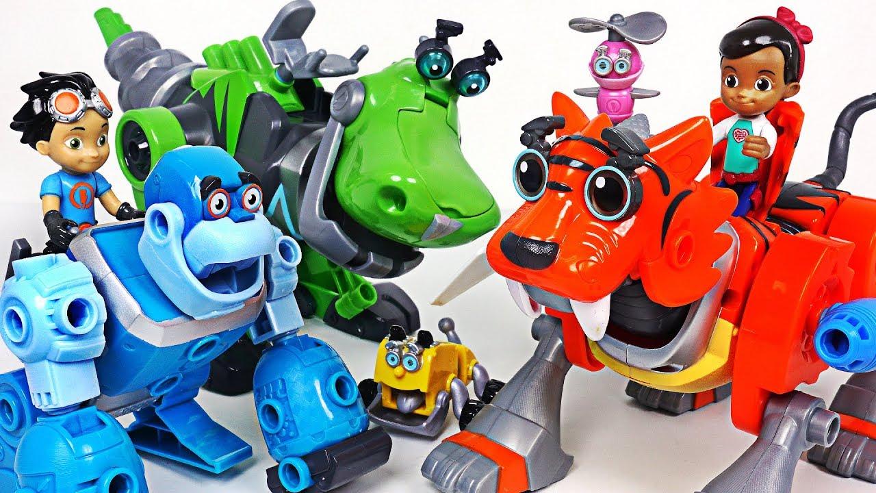 Vilians attack Tayo! Build me! Rusty Rivets Tigerbot, Botarilla, transform dinosaur! - DuDuPopTOY