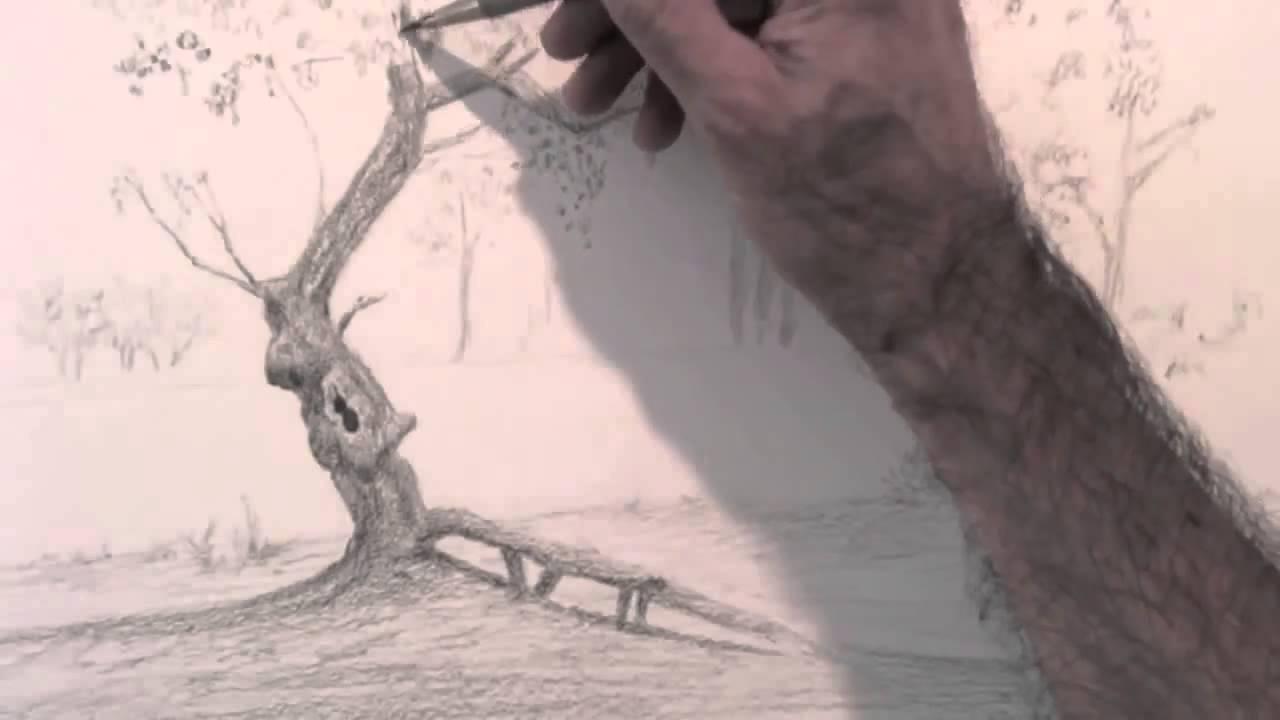 Karakalem Manzara çizim Tekniği Karakalem çizim Sanatı Youtube