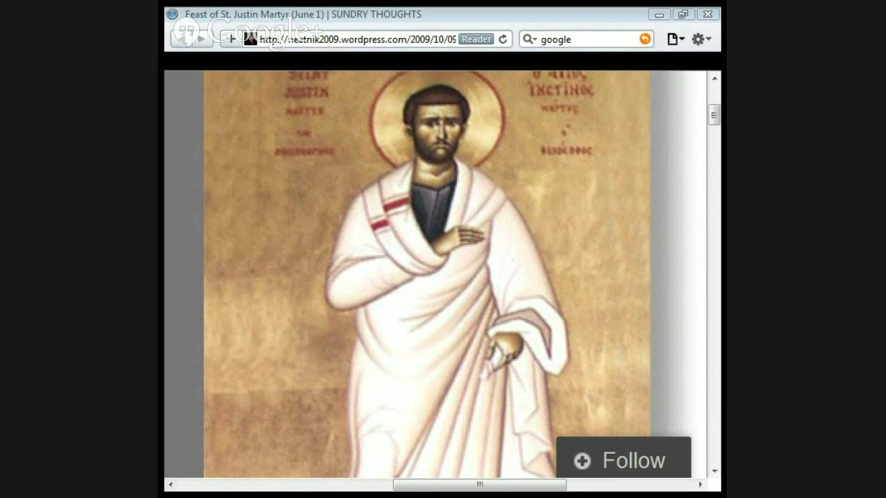 justin martyr Saint justin martyr: saint justin martyr, one of the most important of the greek philosopher-apologists in the early christian church his writings represent the first positive encounter of christian revelation with greek philosophy and laid the basis for a theology of history.