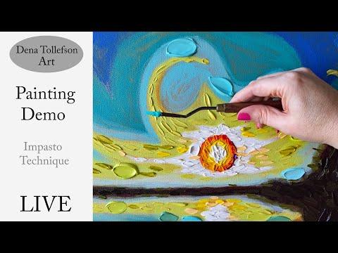 """""""Bartholomew's Sky"""" LIVE Acrylic Landscape Painting Demonstration Impasto Knife Art Technique"""