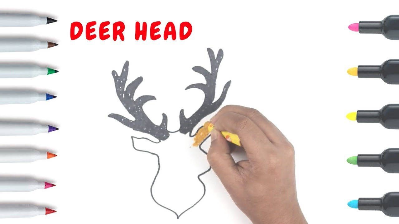 How to draw a deer head art colors for children coloring books for kids