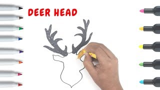 How to Draw a Deer Head | Art colors for children | Coloring books for kids