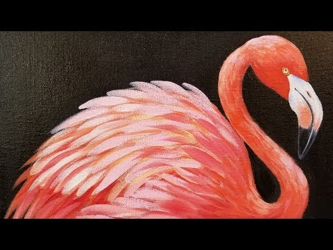 How to Paint a FLAMINGO Acrylic Painting Tutorial LIVE