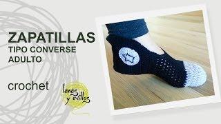 Repeat youtube video Tutorial Zapatillas Crochet o Ganchillo Adulto