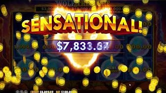 Wolf Gold Wolf Treasure Huge Win $3000 Jackpot $8100 Win Total Moon Respins $100 Bets Emu Casino