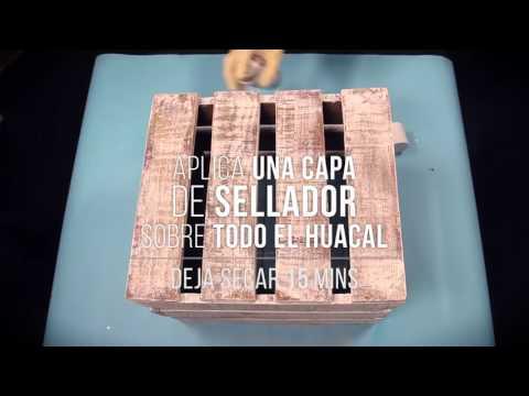 Mesa con huacales de madera estilo vintage