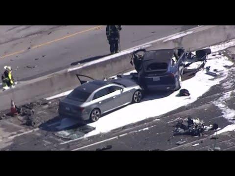 TESLA CRASH:  Helicopter video of fiery Tesla crash in Mountain View