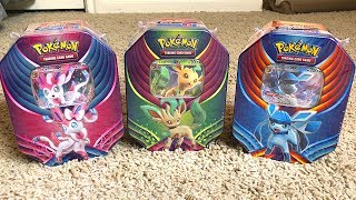 OPENING ALL 3 NEW POKEMON CARDS TINS! *Sylveon Leafeon Glaceon*