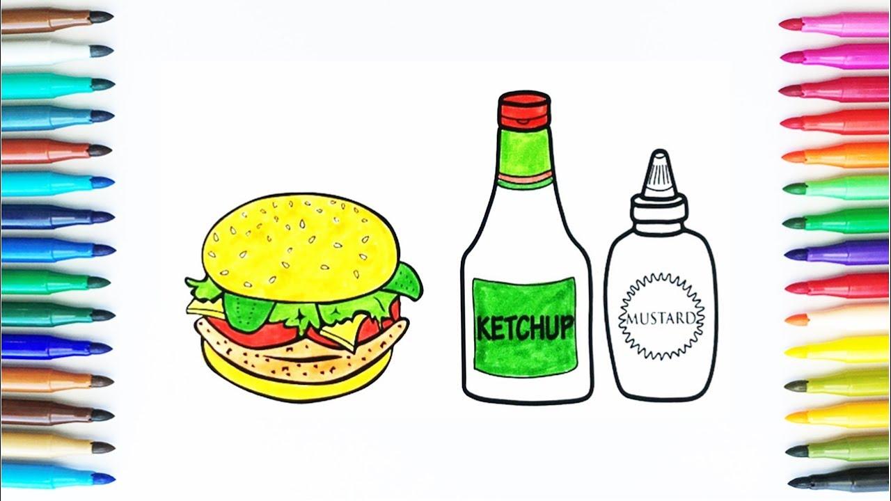 hamburger and sauce coloring pages drawing fast food art