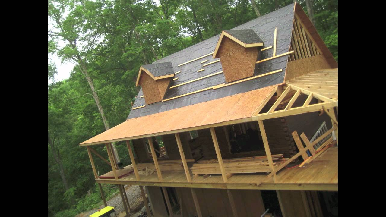 Log cabin time lapse porch roof