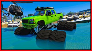 GTA 5 Roleplay - FLOATING MEGA TRUCK DRIVES IN OCEAN & DESTROYING COPS | RedlineRP