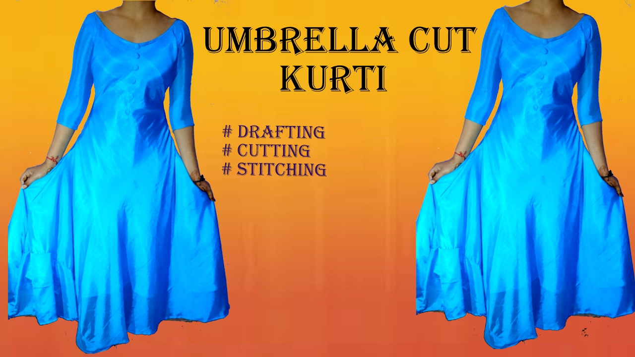 Umbrella cut designer Kurti drafting, cutting and