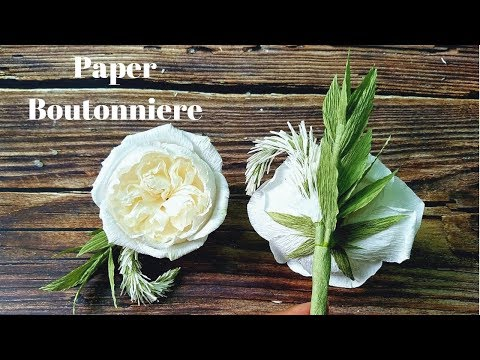 DIY How to make paper boutonniere with white Celosia (Cockscomb) and David Austin rose