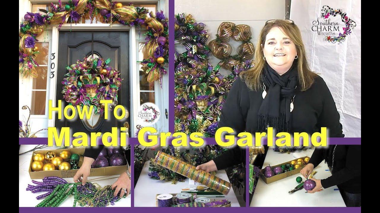 Deco Mesh Mardi Gras Door Garland Sneak Peek Youtube