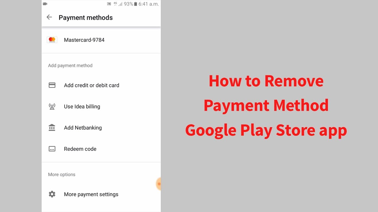 How to Remove Payment Method from Google Play Store