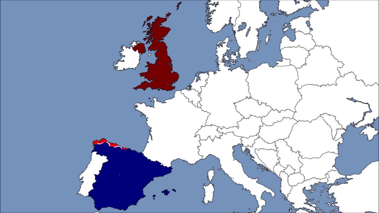 Map Of Spain And United Kingdom.United Kingdom Vs Spain