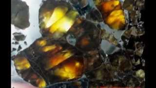 Météorites pallasites compilation gros plan olivines - pallasite meteorite best close up compilation