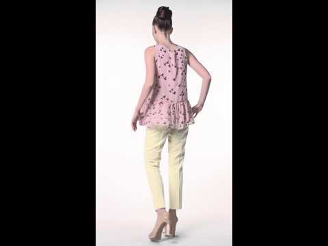ТМ Еверкод Шифоновая  блуза розового цвета с черным принтом