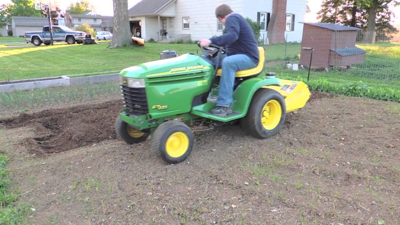 Tilling with a John Deere GT225 YouTube
