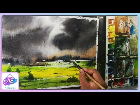Watercolor landscape painting Chinese Watercolor step by step  by Art Explain