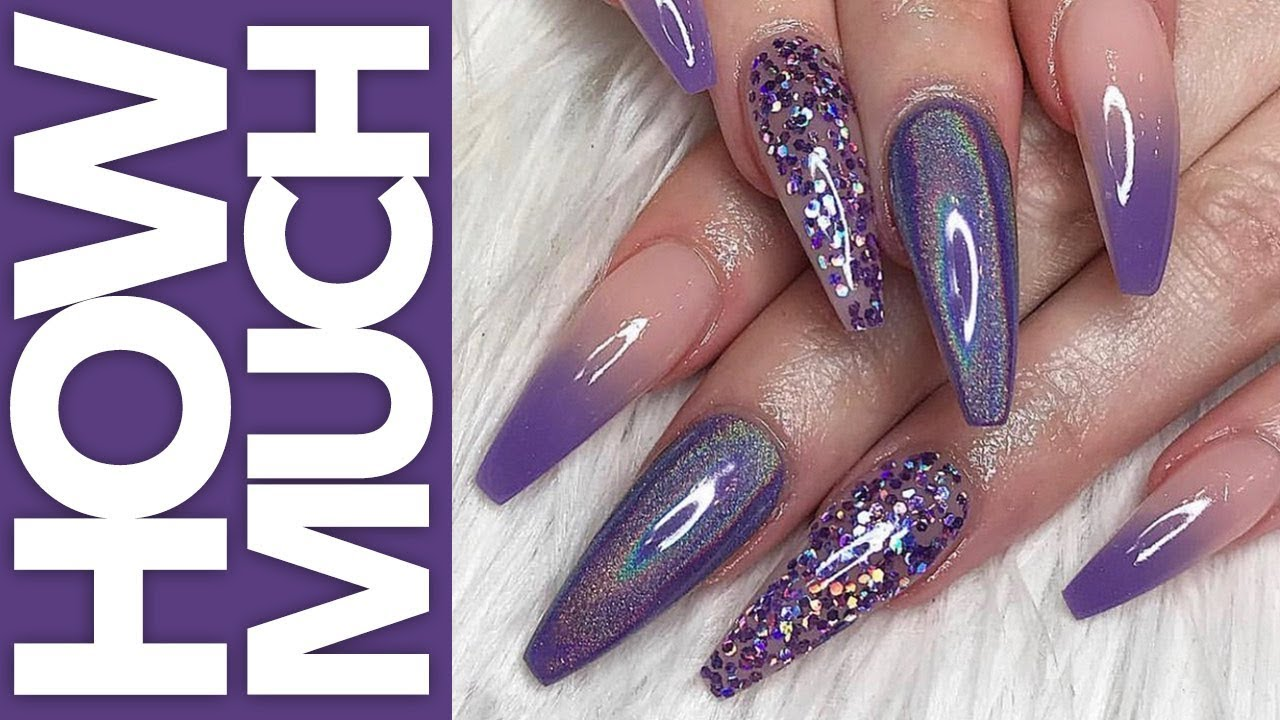 How Much - Holo Purple Ombre Glitter Nails - YouTube