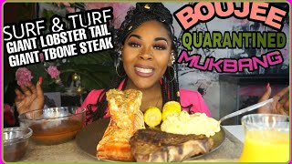 GIANT LOBSTER TAIL & T BONE STEAK MUKBANG SURF & TURF *EXPENSIVE QUARANTINED DINNER*