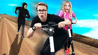 First to Find Buried Treasure Wins 10,000! (Game Master Scooter Chase in Real Life)